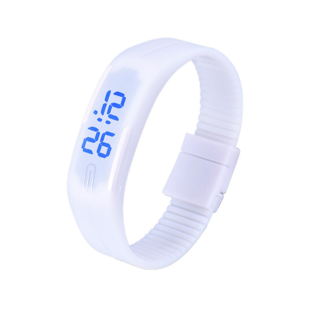 Mens Womens Rubber Blue LED Watch Date Sports Bracelet Digital Wrist Watch Brand
