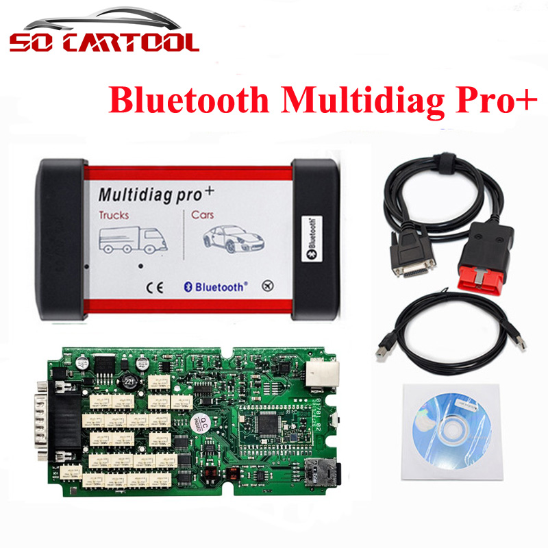 DHL Free 2014.3/2015.3 Software Single PCB Board New Bluetooth Multidiag Pro+ for Cars/Trucks and OBD2 With 4GB Memory Card single green board multidiag pro 2014 r2 keygen