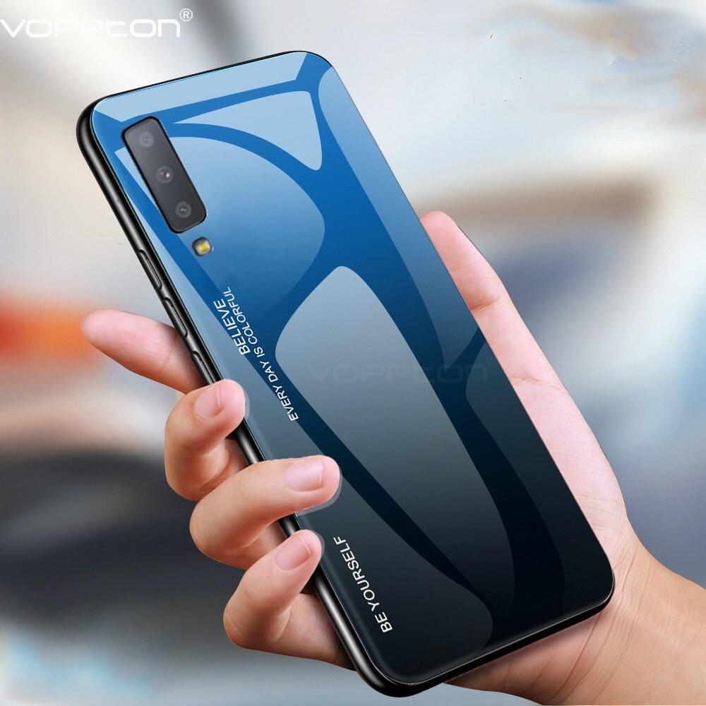 Pour Samsung Galaxy A7 2018 étui en verre trempé dégradé étui rigide en Silicone cadre en verre couverture arrière pour Note 10 plus S10 Plus S10e