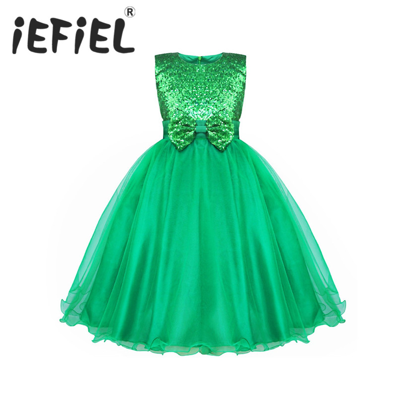 IEFiEL Sequined Kids Infant Girls Wedding Flower Girls Dress Princess Party Pageant Formal Dress Sleeveless Lace Tulle Tutu Dres