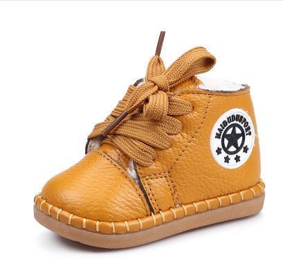 Macio Sapatos de Bebê de Couro Genuíno-de Algodão Acolchoado Sapatos de Inverno Do Bebê Infantil Botas de Neve de Couro Reais Sapatilhas Primeiros caminhantes Da Criança
