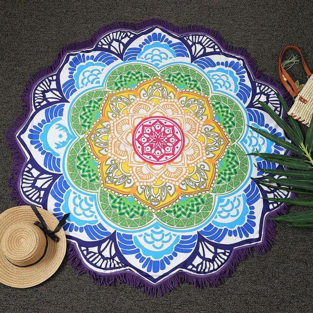 Hot Women Chic Tassel Indian Mandala Tapestry Lotus Printed Bohemian Beach Towel Yoga Mat Sunblock Round Bikini Cover-Up Blanket