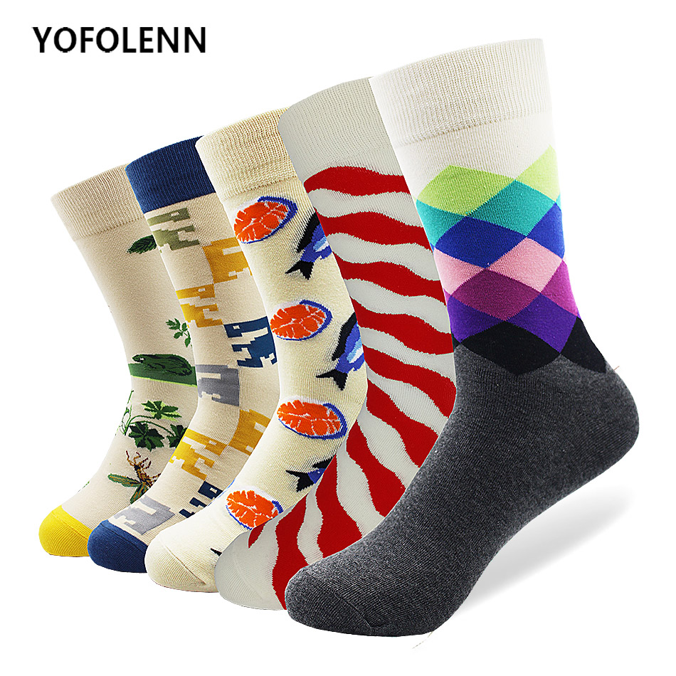 5 pair/lot Novelty Mens Funny Dress Combed Cotton Socks Mixed Style Crew Casual Party Happy socks Cool Long Breathable