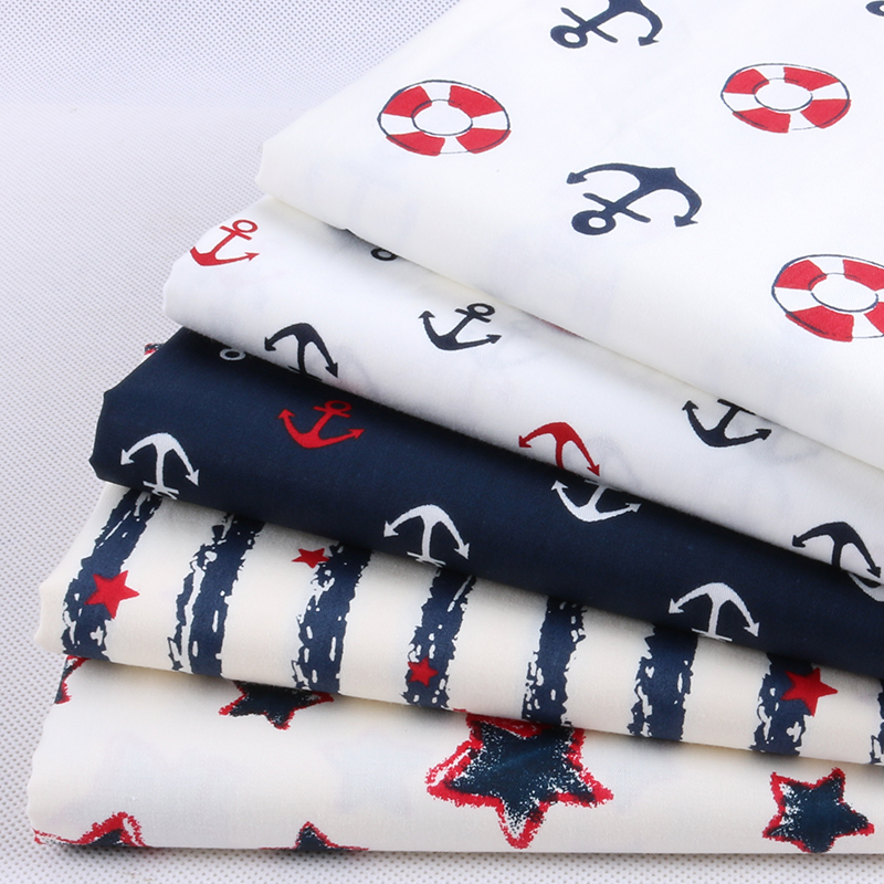 Nanchuang 5Pcs/Lot Navy Series Cotton Fabric For Far Quarters Sewing Patchwork Cloth For Bags Doll Shirt Sheet Material 20x25cm