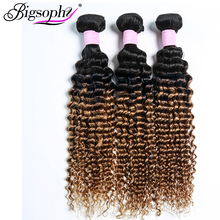 Bigsophy Hair Pre-Colored Deep Wave Indian 3 bundles Human 10 -28 Weaving Bundles Remy Ombre Color 2 Tone T1B/30