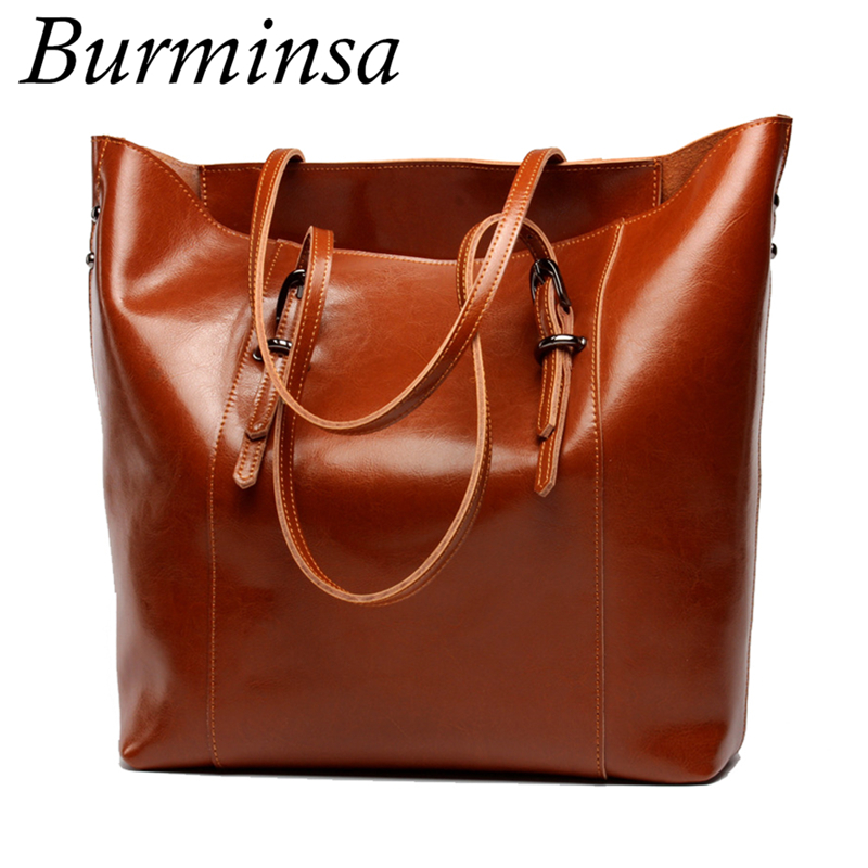 Burminsa Large Tote Shopping Bags Ladies Genuine Leather Handbags Famous Designer Brand High Quality Shoulder Bags For Women hengfang 52135 princess style water resistant eyeliner gel w brush black