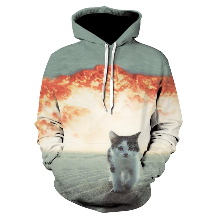 Fashion men/women tiger/Cat Explosion/donuts sweatshirt print space galaxy hoodies Unisex harajuku 3d hoodies sweatshirts