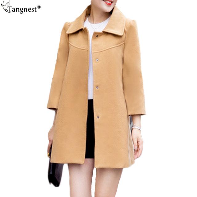Tangnest sólida una línea de invierno capa abrigo 2017 moda mujer Mezcla de Lana Del Cabo Poncho flojo de La Vendimia Ocasional Outwear Plus Size WWN1166
