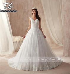 Robe de mariee вечерние, свадебные платья платье с v-образным вырезом Аппликация Кружева Красивые свадебные платья высокое качество свадебное