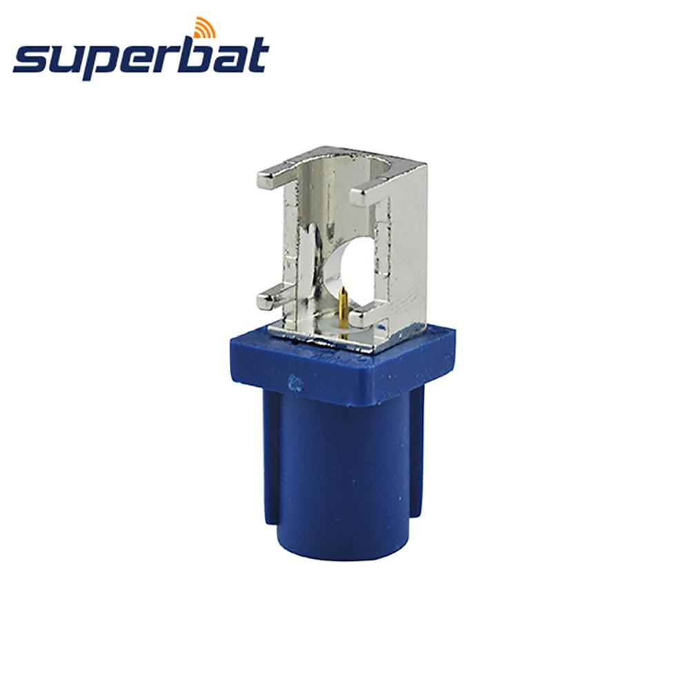 Superbat 5pcs Fakra C Bule Male Plug End Launch PCB Mount Right Angle Fakra Radio Car Connector