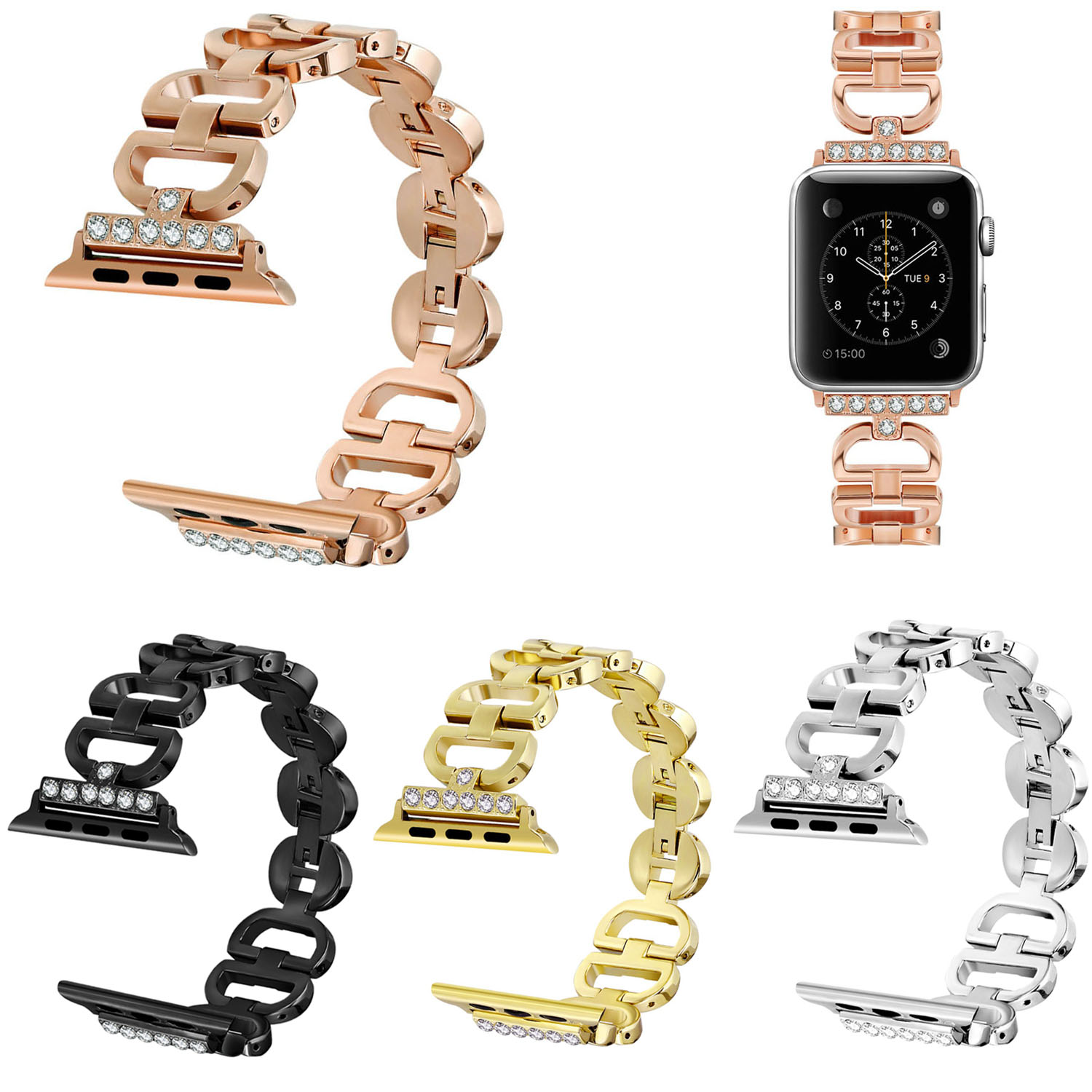 Diamond Stainless Steel Band For Apple Watch Strap iWatch Series 1/2/3 Rhinestone Bracelet 38mm 42mm Replacement Watchbands