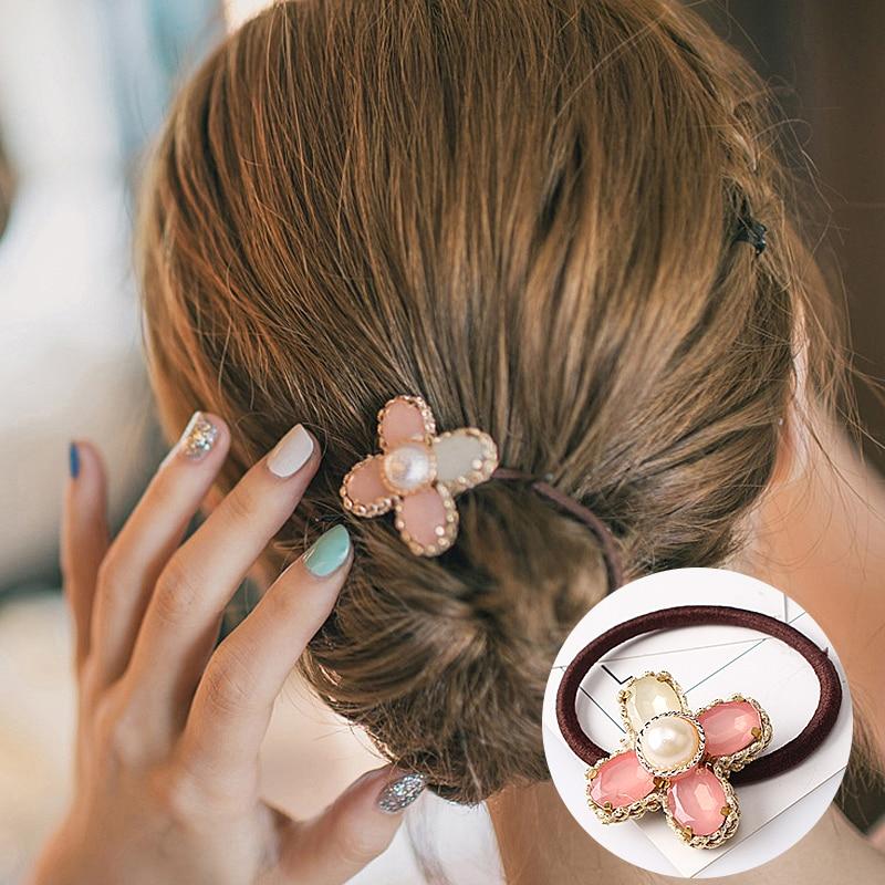 M MISM Rhinestones Flower Crystal Elastic Hair Band Hair Accessories Tie Rubber Gum Holder Scrunchy For Women Girls