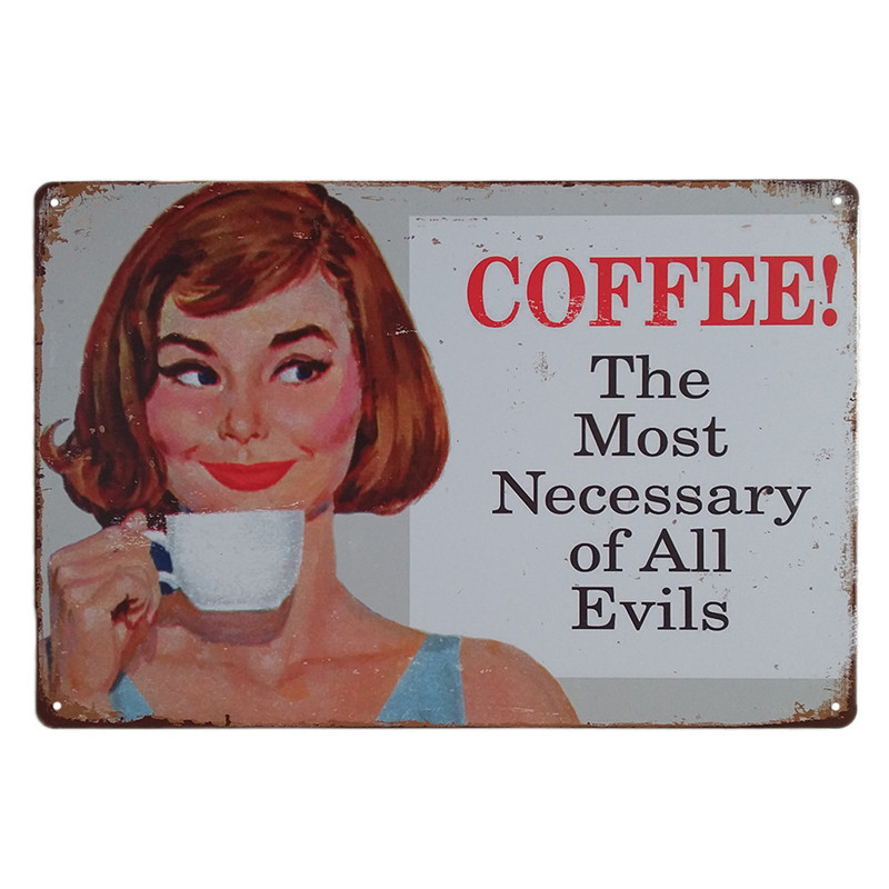 Vintage Coffee Shop Background Decor Metal Tin Sign Bar Home Wall Stickers Decoration Retro ART Poster Cafe Decorative Plates