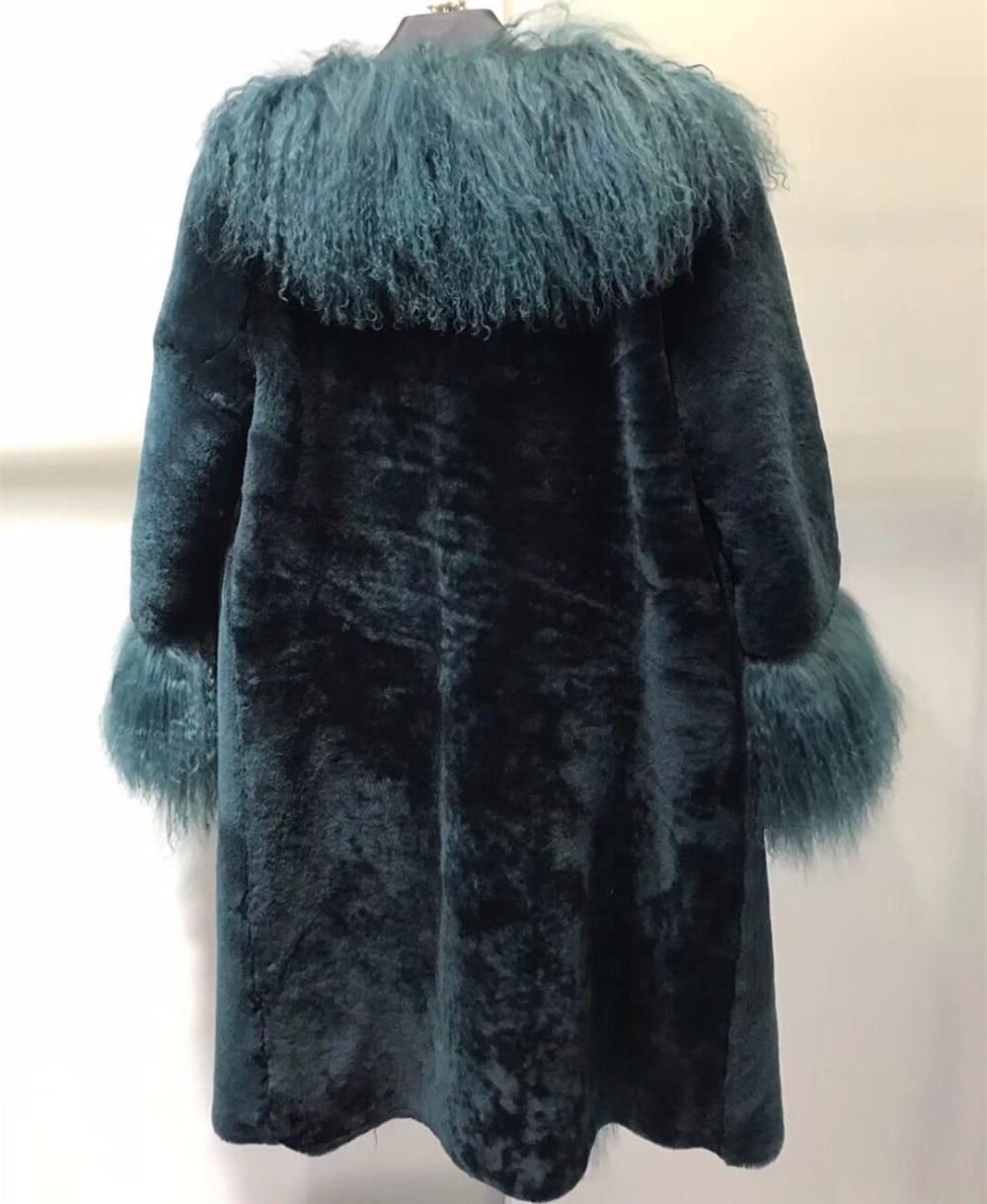 Ladies Real Sheep Shearling Fur Coat Patchwork Mongolia Sheep Fur ...