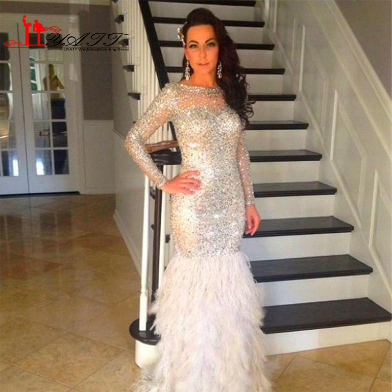 Buy Crystals Feather 2016 Prom Dresses Long Scoop Neck Sparkle Long Sleeve Mermaid Evening Dresses Gorgeous Women Formal Party Gowns