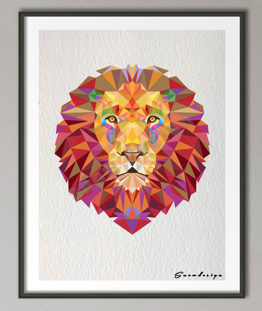 Low Poly Geometric Coral Lion Head Canvas Painting Wall Art Print Poster  Pictures Living Room Home