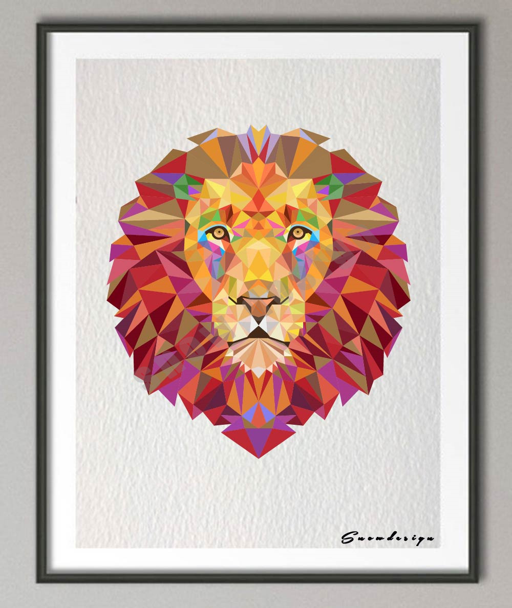 Red coral painting popular red coral print buy cheap red coral print - Low Poly Geometric Coral Lion Head Canvas Painting Wall Art Print Poster Pictures Living Room Home