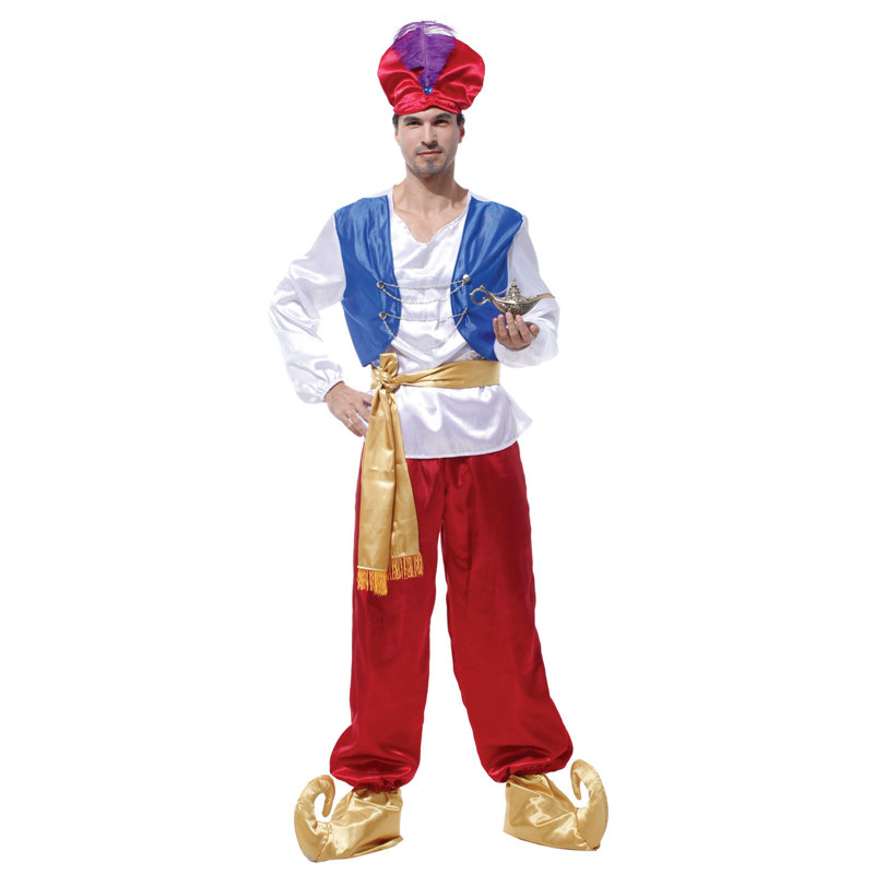 Adult Men Aladdin Costumes Arab Arabian Hero Prince Costume Halloween Purim Party Carnival Masquerade Outfit
