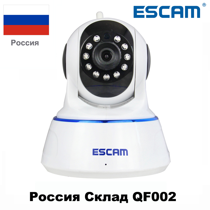 Escam 720P QF002 Indoor Network WIFI IP Camera Infrared support P2P IR-Cut H.264 Pan/Tilt Wireless Cctv IP Camera From Russian guudgo gd sc02 720p cloud wifi camera ip camera pan