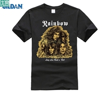 лучшая цена New Rainbow Long Live Rock n Roll Metal Band Men's Black T-Shirt Size Men Cotton T-Shirt Printed T Shirt