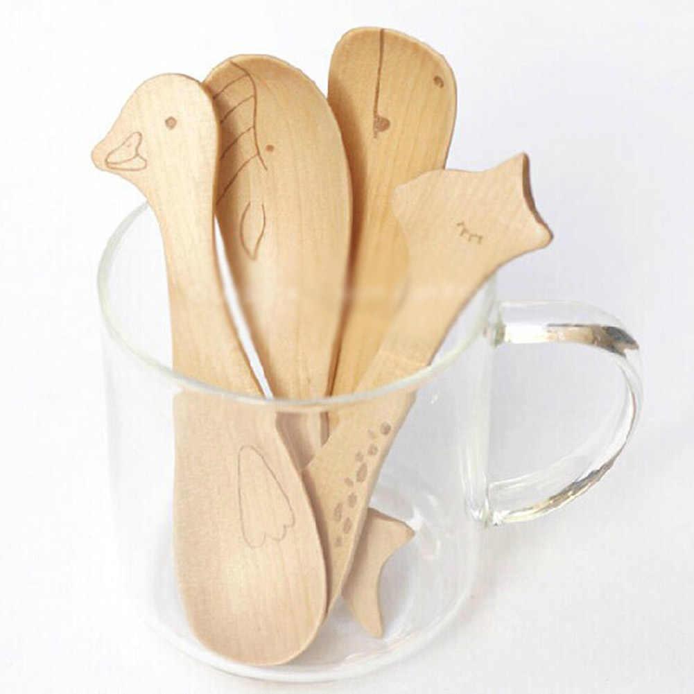 1 pcs ไม้การ์ตูนสัตว์เด็กช้อนข้าว, น้ำผึ้ง Jam ช้อนไอศกรีมไม้ช้อนเด็กฮิปโป, ปลาวาฬ, เป็ดช้อน