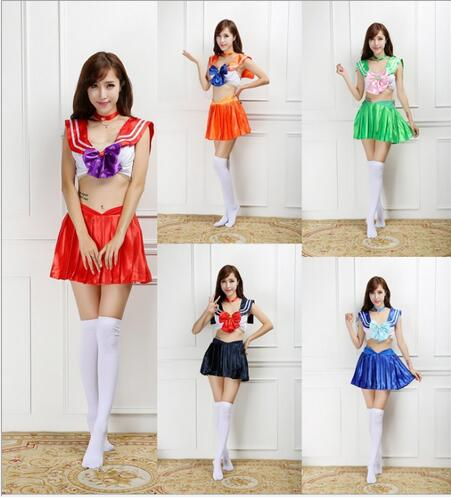 Football Cheerleader free shipping Women's Sexy Sailor Moon Costume Cosplay For Girl Halloween Game Stage Bar Costume Cosplay