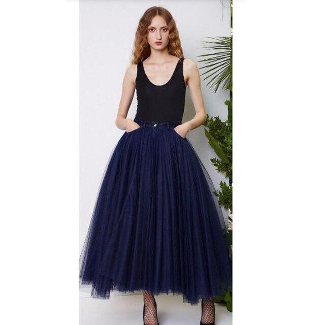 3d6b631ccc Faldas de tul azul marino hasta los tobillos faldas de moda para mujer  Multi capas faldas