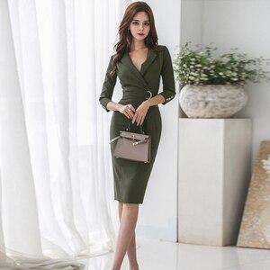 Женское вечернее платье-карандаш, элегантное однотонное зеленое платье-карандаш в деловом стиле, 2019