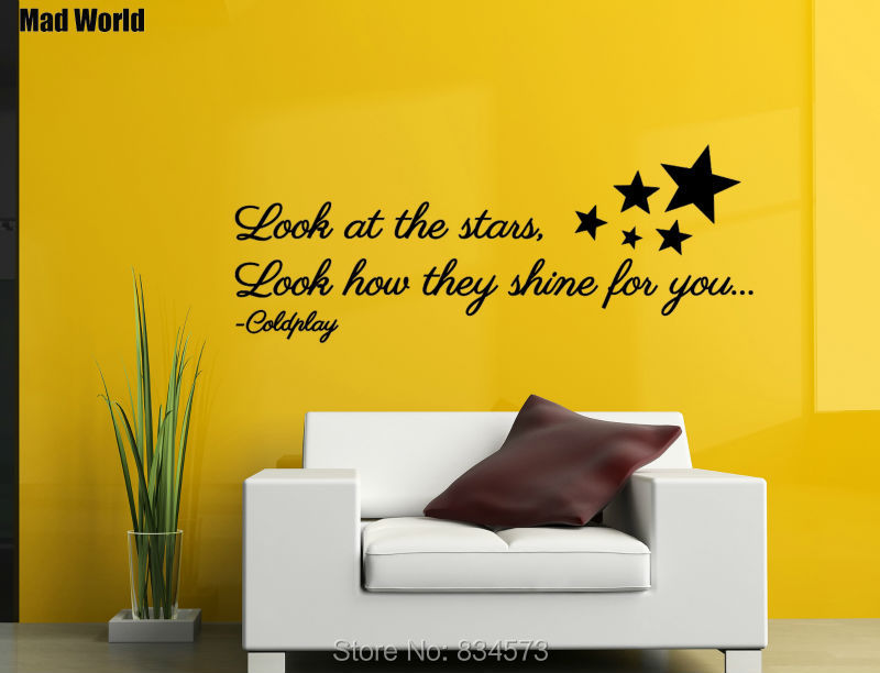 Mad World Look At The Stars Shine for you Lyrics Wall Art Stickers ...