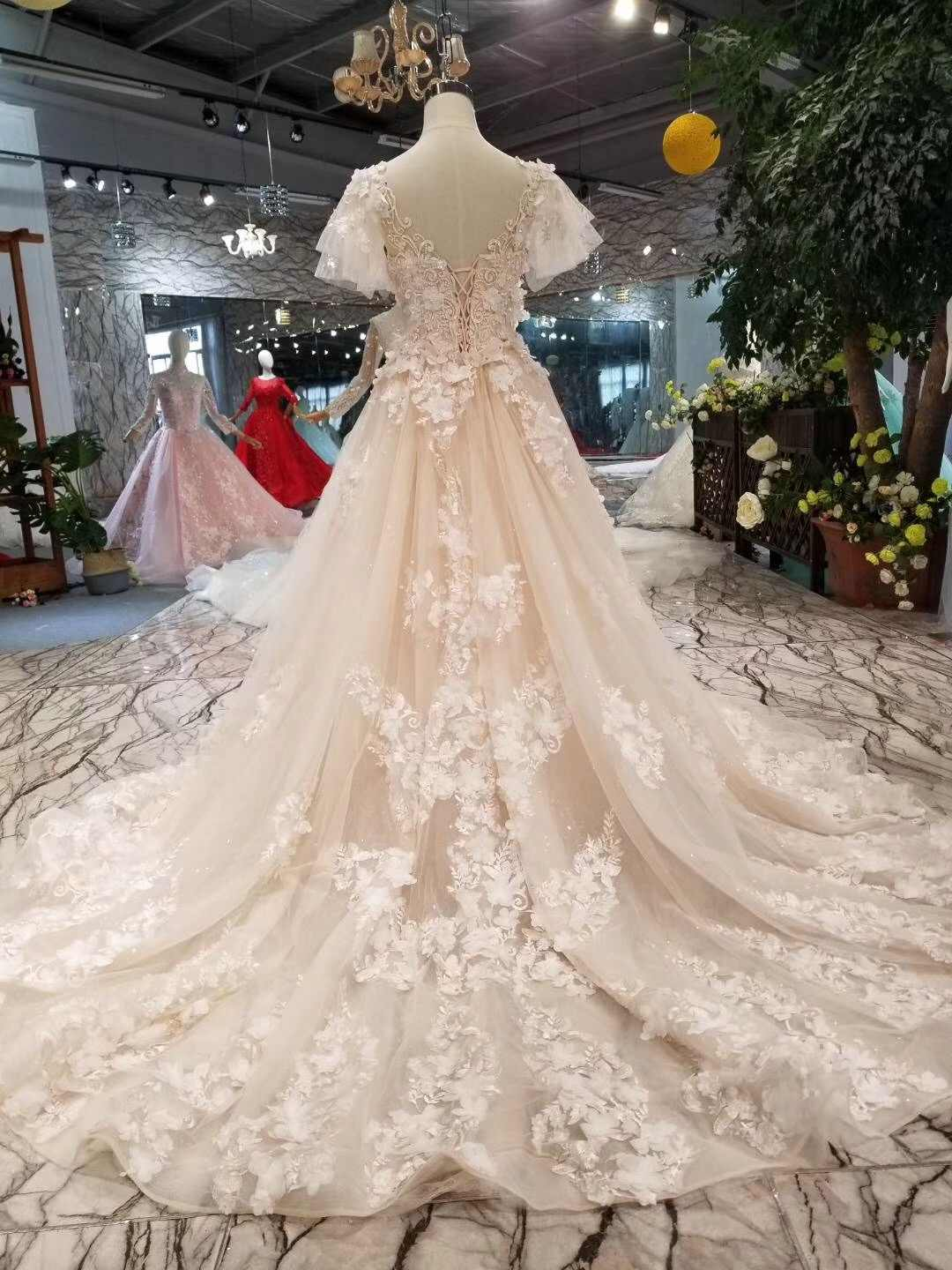 9f847b418f8c ... 2019 Champagne Pink Lace Long Sleeves Mermaid Wedding Dress With  Detachable Train 3d Flowers Appliques Overskirt ...