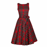 Brand New Women Red Plaid UK Style Belts Summer Vintage Dresses Rockabilly Retro 60s Party Dress
