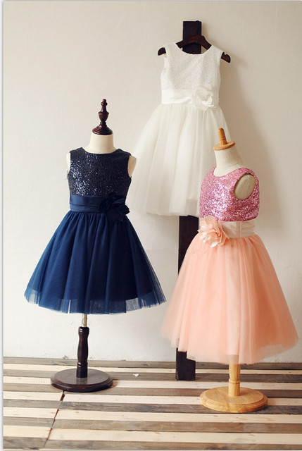 Navy Blue White Pink Sequins Tulle Flower Girl Dress PAGEANT Communion  Baptism Christening Baby Girl Party Dress 8db1bf358542