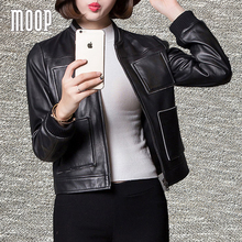 Black real leather-based jackets 100% sheepskin leather-based jacket coat star rivet decor veste en cuir femme jaqueta de couro LT1148