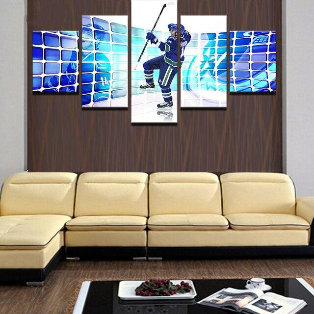 Modulare Rahmen Bild Leinwand Malerei Home Decoration Für Wohnzimmer 5  Panel Eishockey Sport Moderne Druck Typ