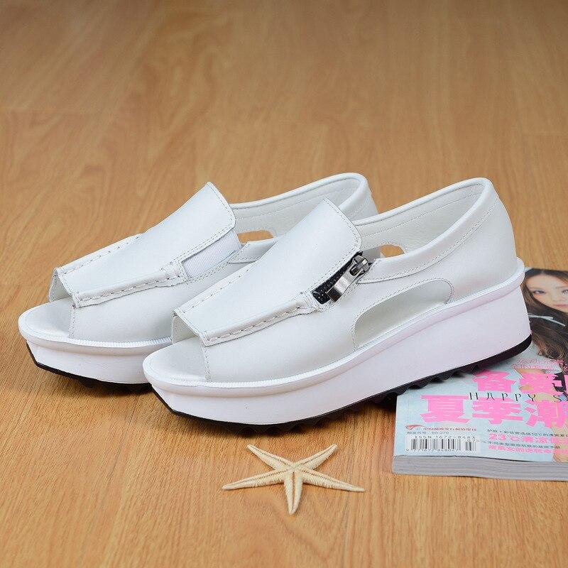 Wedges Sandals Silver Shoes Open-Toe Zipper Black Summer Ladies White