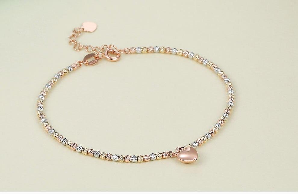 Bracelet en or 18 k flash laser amour couleur or rose bracelet en perles d'amour artisanat italien AU750