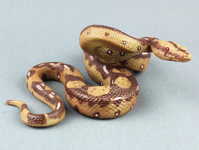 US $14 57 46% OFF|simulation snake python Static Plastic toy model  15x11x5 8cm Environmental PVC Cognition prop model funny toy gift w0884-in  Stuffed