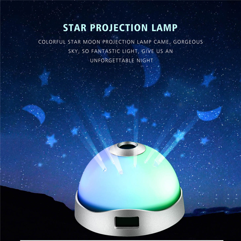 Novelty RGB Night Light Star sky Projection Lamp led Baby Light Time Display Table Lamp AAA Battery power lamp kids