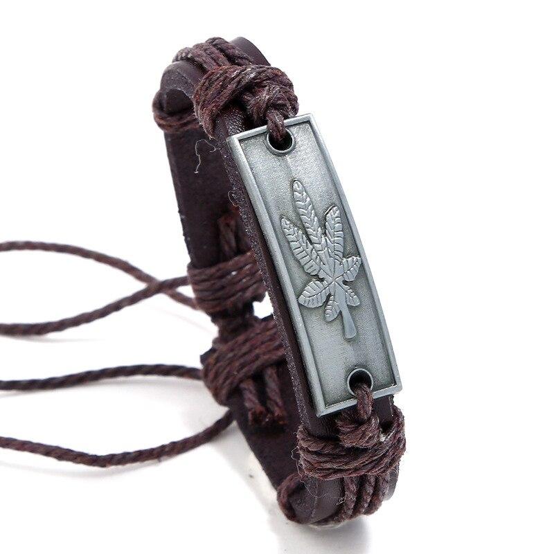 2019 Man Restore Ancient Ways Weave Cowhide Alloy Maple Leaves Hemp Rope Leather Bracelet Cross Border Vintage