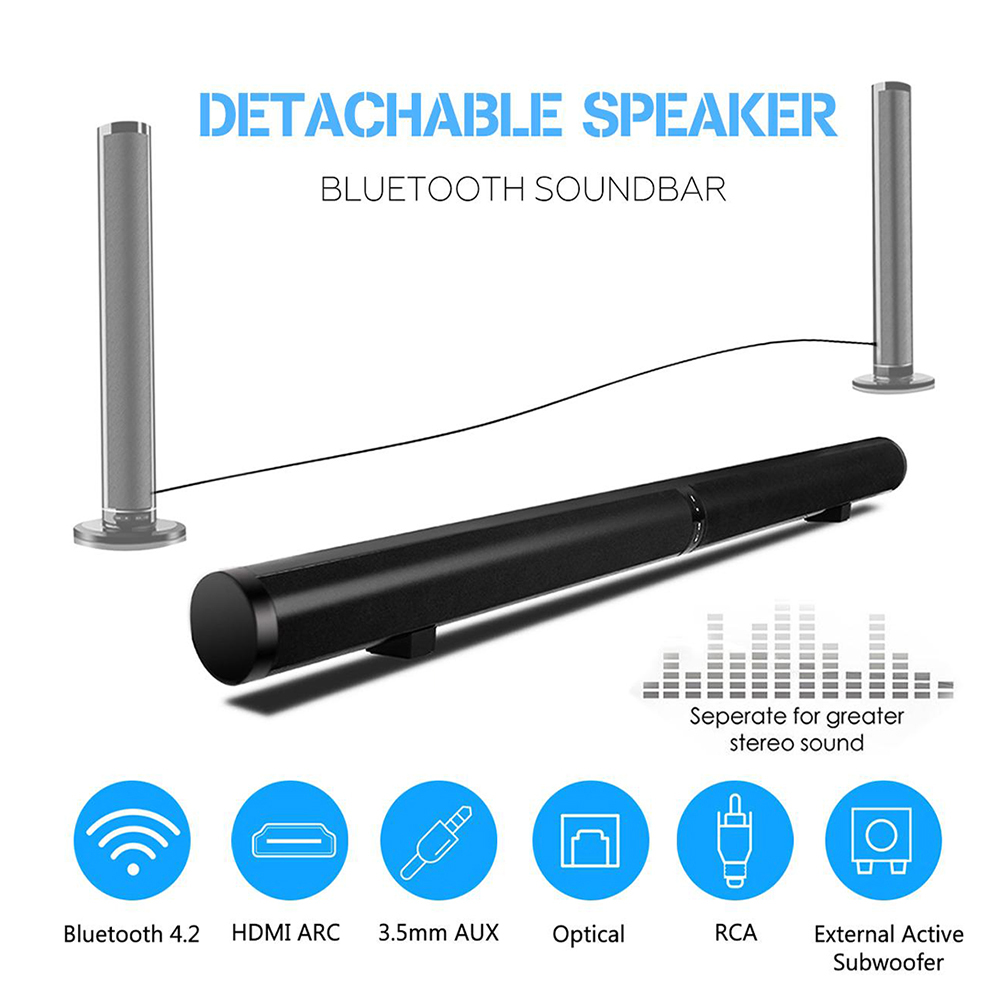50W Detachable Wireless bluetooth Soundbar Bass Speaker 3D Surround HIFI Sound bar Stereo Bass Subwoofer Home Theatre for TV PC