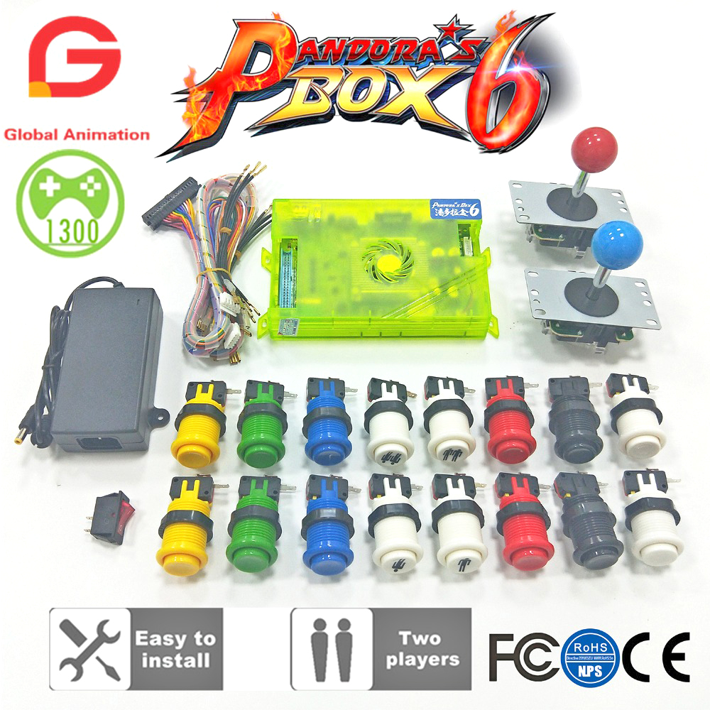 <font><b>2</b></font> Player DIY Arcade Kit Pandora box 6 <font><b>1300</b></font> in <font><b>1</b></font> game board and 8 way joystick American HAPP Style Push Button for Arcade Machine image