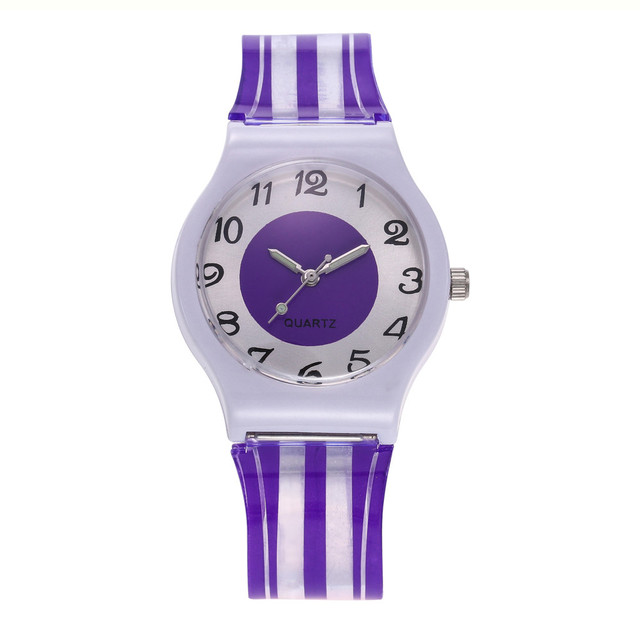 Woman Student Fashion Silicone Band Analog Quartz Clock Women's Casual Watches F