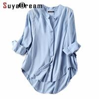 Women Fall blouse 50%Cotton 50%Linen 3/4 sleeved White blouses Office lady shirt 2018 Fall Winter Light Blue