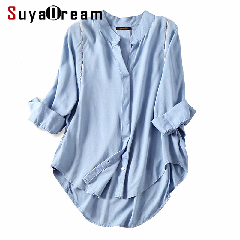Women Fall blouse 50%Cotton 50%Linen 3/4 sleeved White blouses Office lady shirt 2018 Fall Winter Light Blue