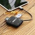 -Tipo C Divisor HUB USB 3.1 3 Portas Hub USB 2.0 TF SD Adaptador de Leitor de Cartão de memória Para O Portátil TF SD MS M2 leitor de Cartões de Suporte Hot-swap