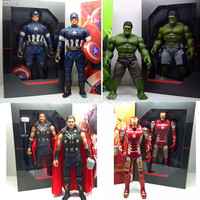 Avengers 12 Inches Captain America with Shield Hulk with Pants Thor Iron Man Figures Vinyl Toy Decoration Model Doll Kids Gift