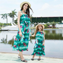 Matching Family Outfits Mother Daughter Floral Beach Dresses Off Shoulder Family Matching Clothes Summer Dress Sleevless summer baby mom family matching clothes casual mother daughter dresses fashion family matching outfits high quality dress page 5