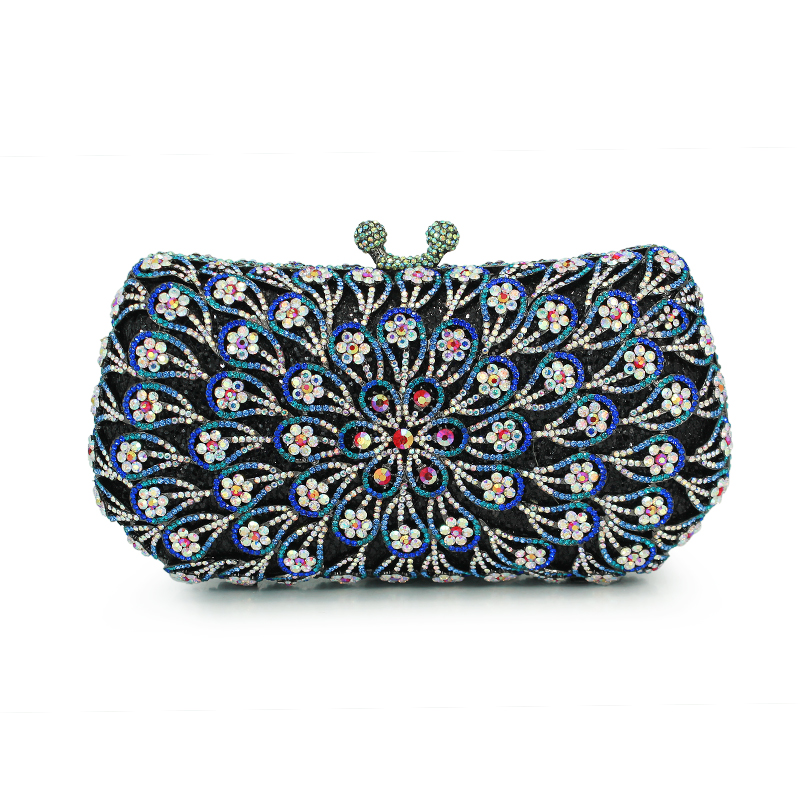 Women Evening Bags Ladies Crystal Purses Female  Peacock Flower Party Clutches Bag Navy Women Clutches  (88197A-B) free shipping a15 48 blue color fashion top crystal stones ring clutches bags for ladies nice party bag