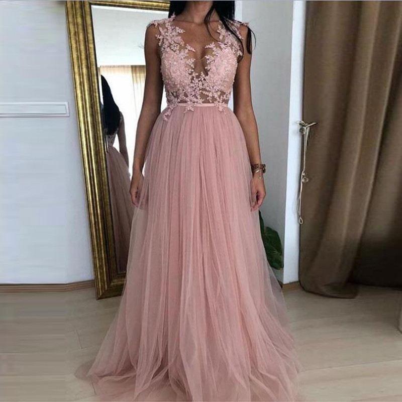 Real Picture Dusty Pink Elegant Round Neck A Line Tulle Long Evening Formal Dresses Applique Summer Prom Gown Custom Party Dress