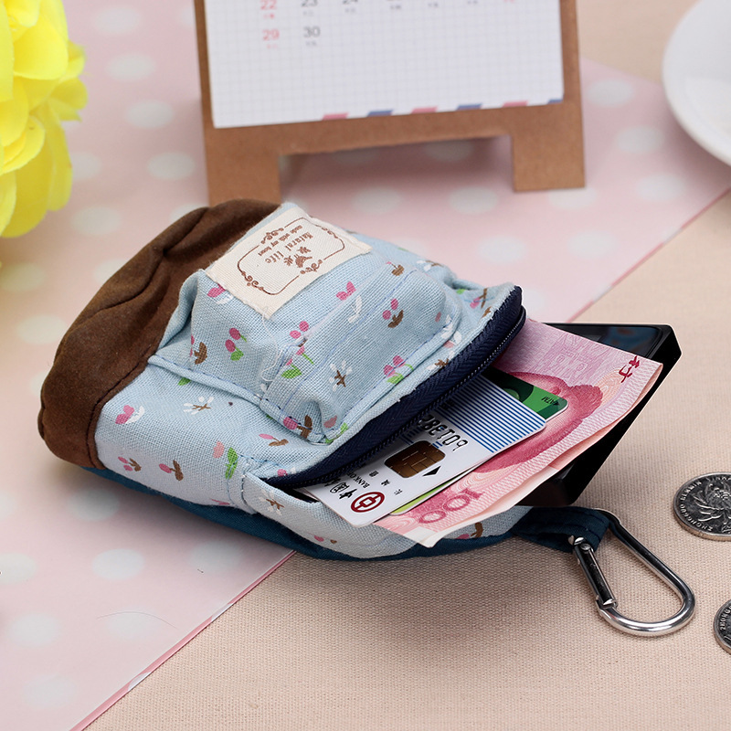 500pcs/lot New fashion kawaii fabric canvas mini floral backpack women girls kids cheap coin pouch change purses clutch bags